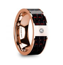 KLEMENIS Men's 14k Rose Gold Flat Wedding Ring with Red & Black Carbon Fiber Inlay & Diamond - 8mm