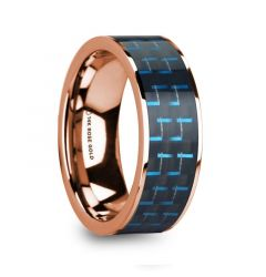 LUCIAN Polished 14k Rose Gold & Black/Blue Carbon Fiber Inlaid Flat Wedding Ring - 8mm