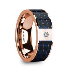 MIKHAIL Diamond Center 14k Rose Gold Men's Wedding Ring with Blue & Black Carbon Fiber Inlay - 8mm