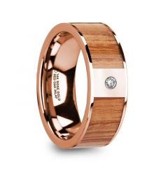 MARINOS Polished 14k Rose Gold Men's Wedding Band with Red Oak Wood Inlay & Diamond Accent - 8mm