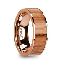 MILOS Polished Flat 14k Rose Gold Men's Wedding Ring with Red Oak Wood Inlay - 8mm