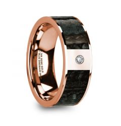 MIKHOS Blue Dinosaur Bone Inlaid Polished 14k Rose Gold Men's Flat Wedding Ring with Diamond - 8mm