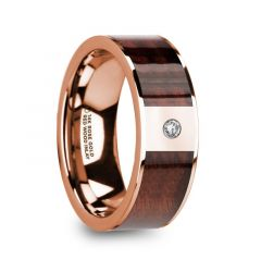 PETROS Red Wood Inlaid Polished 14k Rose Gold Men's Wedding Ring with Diamond Center - 8mm