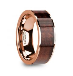 ROUVIN Polished 14k Rose Gold Men's Wedding Band with Red Wood Inlay - 8mm