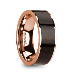 SERAPHIM Men's Polished 14k Rose Gold with Ebony Wood Inlay Wedding Ring - 8mm