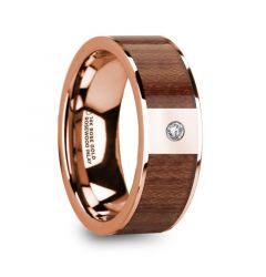 THANASIS Polished 14k Rose Gold Men's Wedding Ring with Rosewood Inlay & Diamond Center - 8mm