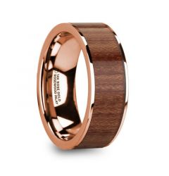 TITOS 14k Rose Gold Men's Wedding Band with Rosewood Inlay & Polished Finish - 8mm