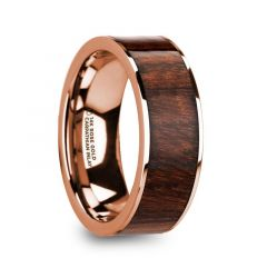 OLYMPOS Polished 14k Rose Gold Men's Wedding Ring with Carpathian Wood Inlay - 8mm