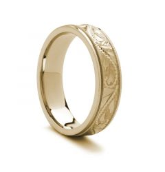 Engraved Finish Gold Ring - 14k