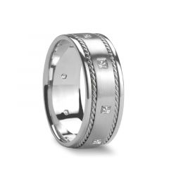 PHANES Dual Woven Inlays with Diamonds Silver Wedding Band by Novell - 8mm
