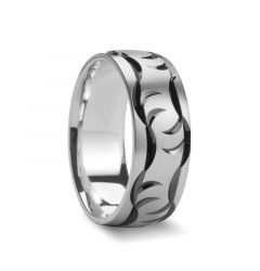 STRATON Carved Claw Marked Silver Wedding Band by Novell - 7mm & 8mm