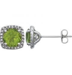 Sterling Silver 6mm Peridot & .015 CTW Diamond Stud Earrings