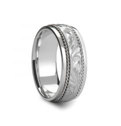 RHODE Hand Engraved Center Silver Wedding Band by Novell - 8mm