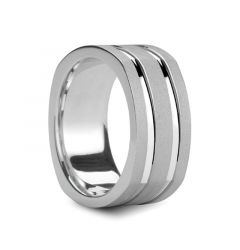 KOPIOS  Dual Polished Grooves Square Silver Wedding Band by Novell - 9mm & 10mm
