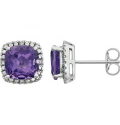 14k White Gold Genuine Amethyst & .06 CTW Diamond Stud Earrings