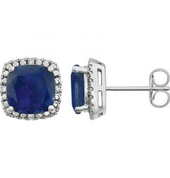 14k White Gold Lab Created Blue Sapphire & .06 CTW Diamond Stud Earrings