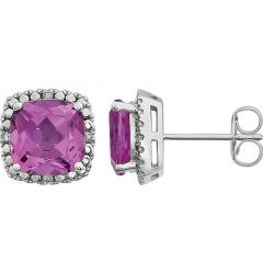 14k White Gold Lab Created Pink Sapphire & .06 CTW Diamond Stud Earrings