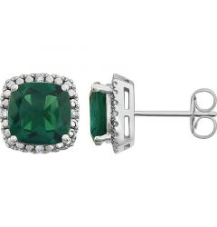 14k White Gold Lab Created Emerald & .06 CTW Diamond Stud Earrings