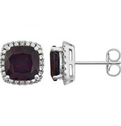 14k White Gold Mozambique Garnet & .06 CTW Diamond Stud Earrings