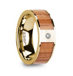 ONESIMOS Men's Polished 14k Yellow Gold & Red Oak Wood Inlaid Wedding Ring with Diamond - 8mm