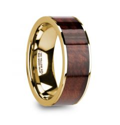 PHOIBOS Men's 14k Yellow Gold Flat Wedding Ring with Red Wood Inlay - 8mm