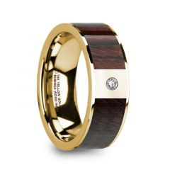 TARAS Bubinga Wood Inlaid 14k Yellow Gold Men's Ring with Diamond Center & Polished Finish - 8mm