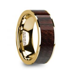 SOLON 14k Yellow Gold & Bubinga Wood Inlaid Men's Flat Wedding Ring with Polished Finish - 8mm