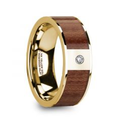 STEPHANOS Men's Polished 14k Yellow Gold & Rosewood Inlay Flat Wedding Ring with Diamond - 8mm