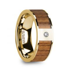 THEODOROS Polished 14k Yellow Gold Men's Wedding Band with Teak Wood Inlay & Diamond - 8mm