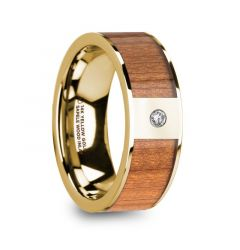 SPYROS Men's Sapele Wood Inlaid 14k Yellow Gold Polished Wedding Ring with Diamond Center - 8mm