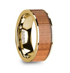 SPIRO Men's Polished 14k Yellow Gold Flat Wedding Ring with Sapele Wood Inlay - 8mm