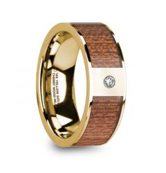 VANGELIS Men's Diamond Center Polished 14k Yellow Gold Wedding Ring with Cherry Wood Inlay - 8mm