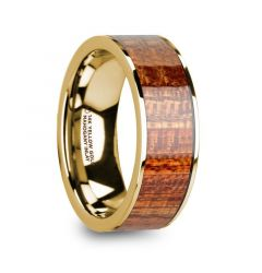 YANNI Polished 14k Yellow Gold Men's Flat Wedding Band with Mahogany Wood Inlay - 8mm