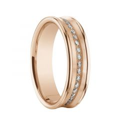 Women's Diamond Concave 14K Rose Gold Ring with Polished Edges by Benchmark - 5.5mm