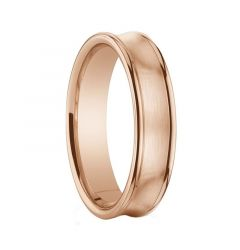 Women's Brushed Center Concave 14K Rose Gold Ring with Polished Edges by Benchmark - 5.5mm