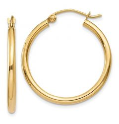 14K Yellow Gold 2 mm Lightweight Tube Hoop Earrings