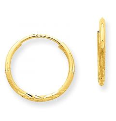 14K Yellow Gold 1.25mm Diamond-Cut Endless Hoop Earrings