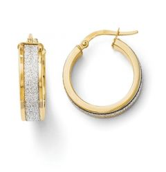 Leslies 14k Yellow Gold 6mm Fancy Glimmer Infused Hoop Earrings