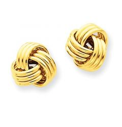 14K Yellow Gold 9mm Polished Triple Knot Post Earrings