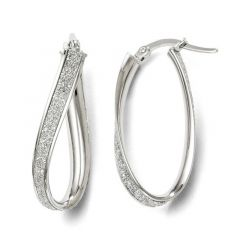 Leslie's 14k White Gold 3.75mm Polished Glimmer Infused Oval Hoop Earrings