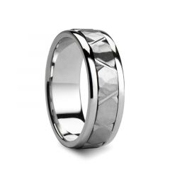 TROPIUS Raised Hammered Center with Carved X Cuts Palladium Wedding Ring by Novell - 7mm & 8mm