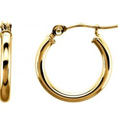 14k Yellow Gold Dazzling 2mm Polished Hoop Earrings