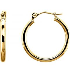 14k Yellow Gold 2mm Spectacular Polished Hoop Earrings