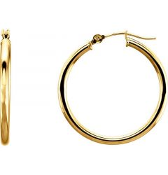 14k Yellow Gold Ravishing 2mm Hoop Earrings