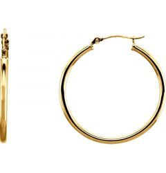 14k Yellow Gold 2mm Brilliant Polished Hoop Earrings