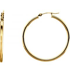 14k Yellow Gold 2mm Radiant Hoop Earrings