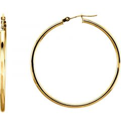 14k Yellow Gold 2mm Luminous Tube Hoop Earrings