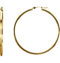 14k Yellow Gold 2mm Gleaming Polished Hoop Earrings
