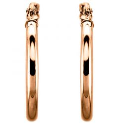 14k Rose Gold 2mm Lovely Hoop Earrings