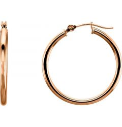 14k Rose Gold 2mm Stunning Polished Hoop Earrings